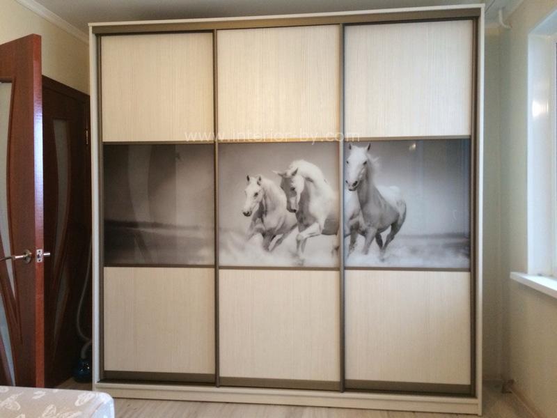 Шкаф купе с лошадьми