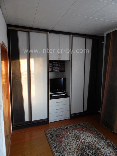 Шкаф купе для зала с телевизором и комодом