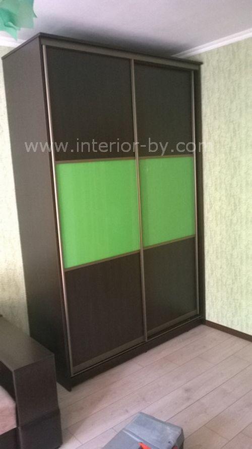 Шкаф купе зеленый лакобель и дсп