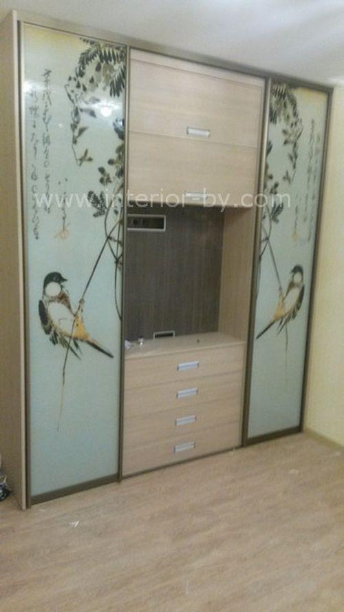 шкаф с комодом и дверями фотопечать птицы