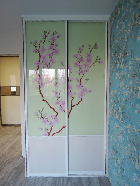 Шкаф купе ДСП эггер фотопечать цветущая сакура на холсте